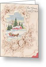 Christmas Greetings 1251 - Vintage Christmas Cards - Snowy Cottage Greeting Card