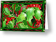 Christmas Holly And Berries Greeting Card