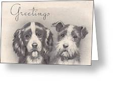 Christmas Illustration 1252 - Vintage Christmas Cards - Two Dogs Greeting Card