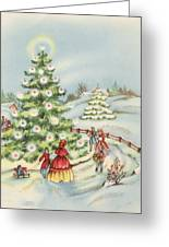 Christmas Illustration 15 - Winter Ladscape During Christmas Time Greeting Card