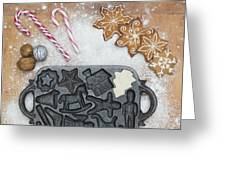 Christmas Interior With Sweets And Vintage Kitchen Tools Greeting Card