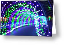 Christmas Lights Decoration Blurred Defocused Bokeh Greeting Card