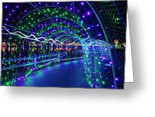Christmas Lights In Tunnel At Lafarge Lake Greeting Card