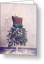 Christmas Mannequin Dressed In Fir Branches Greeting Card