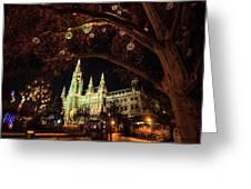 Christmas Market At The Vienna City Hall Greeting Card