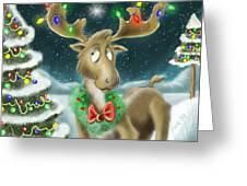 Christmas Moose Greeting Card by Hank Nunes