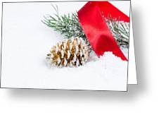 Christmas Objects On Snow  Greeting Card