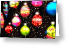 Christmas Ornaments Abstract One Greeting Card