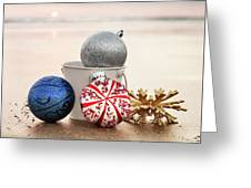 Christmas Ornaments On The Beach Greeting Card
