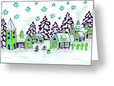 Christmas Picture In Green And Blue Colours Greeting Card