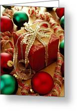 Christmas Present And Ornaments Greeting Card
