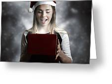 Christmas Present Girl Opening Magic Gift Box Greeting Card