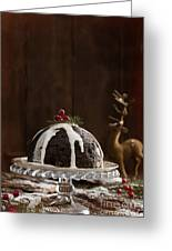 Christmas Pudding With Cream Greeting Card