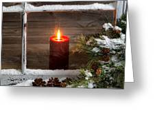 Christmas Red Candle With Snow Covered Home Window And Pine Tree Greeting Card