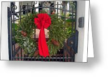 Christmas Ribbon On Iron Door Greeting Card