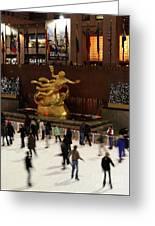 Christmas Skating Ny Style Greeting Card