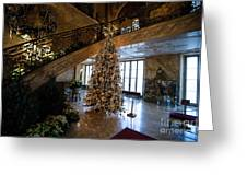 Christmas Tree And Staircase Marble House Newport Rhode Island Greeting Card
