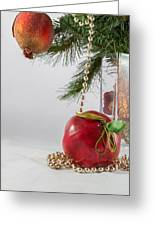 Christmas Tree Branch And Decoration In A Vase Greeting Card