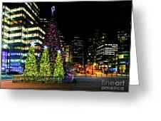 Christmas Tree On New Year's Eve In The Street Of A Big City Greeting Card