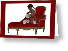 Christmas Woman On Couch Greeting Card