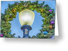 Christmas Wreath Lampost Greeting Card