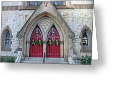 Christmas Wreaths On Red Church Doors Greeting Card