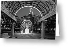 Christopher Columbus Park Boston Ma Trellis Statue Black And White Greeting Card