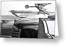 Chrome Hood Ornaments Vintage Cars Greeting Card