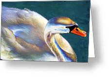 Chrome Swan Greeting Card