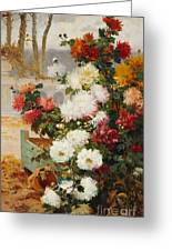 Chrysanthemums In A Walled Garden Greeting Card