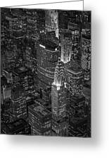 Chrysler Building Aerial View Bw Greeting Card