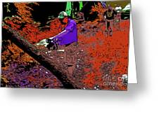 Chuck Chainsaw 2 Greeting Card