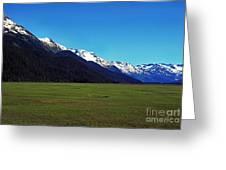 Chugach Mountains Green Plain Greeting Card