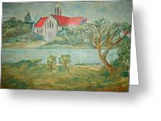 Church Across River Greeting Card