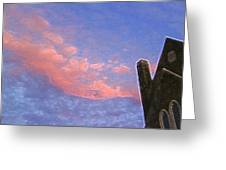 Church At Sunset Ae Greeting Card