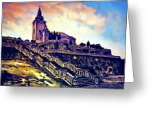 Church Dominant With Decorative Historical Staircase, Graphic Work From Painting. Greeting Card