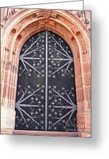 Church Door In Eltville Greeting Card