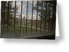 Church In Prison Yard Through Bars Greeting Card