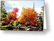 Church In The Distance In Autumn Greeting Card
