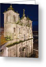 Church Of Saint Lawrence By Night In Porto Greeting Card