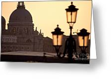 Church Of Santa Maria Della Salute With Lamp Post Greeting Card