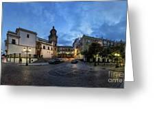 Church Of Santo Domingo Panorama Cadiz Spain Greeting Card