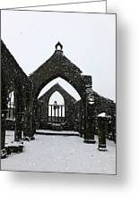 Church Of St Thomas A Becket In Heptonstall In Falling Snow Greeting Card