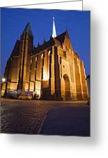 Church Of The Holy Cross By Night In Wroclaw Greeting Card