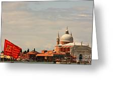 Church Of The Redentore In Venice With Flag Of Venice Greeting Card