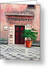 Church Side Door - Taormina Sicily Greeting Card