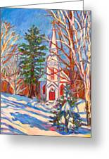 Church Snow Scene Greeting Card