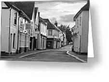 Church Street Sawbridgeworth In Black And White Greeting Card