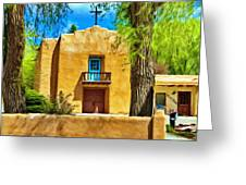 Church With Blue Door Greeting Card