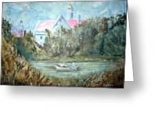Church With Boat In River Greeting Card
